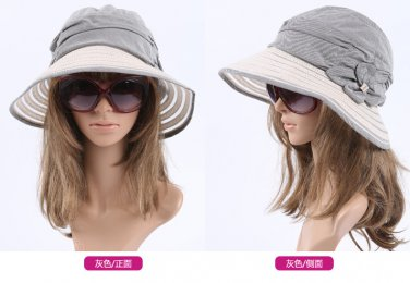 GREY Foldable woman Wide Brim Summer Sun Flap Bill Cap Cotton Hat Neck Cover
