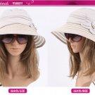CREAM Foldable woman Wide Brim Summer Sun Flap Bill Cap Cotton Hat Neck Cover