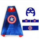 Superhero Captain America Costume Cosplay Cape mask wrist belt set dress up for kids
