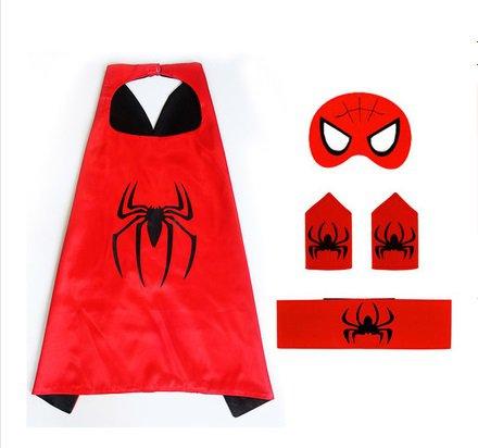 Superhero Spiderman Costume Cosplay Cape mask wrist belt set dress up for kids