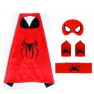 Superhero Spiderman Costume Cosplay Cape mask wrist belt set dress up for kids