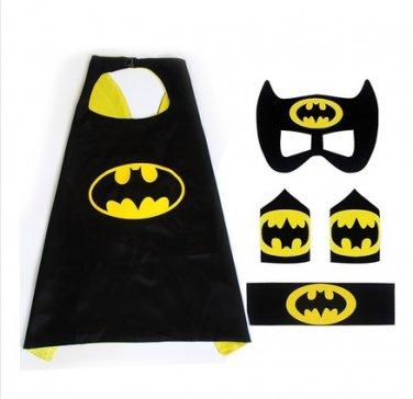 Superhero Batman Costume Cosplay Cape mask wrist belt set dress up for kids
