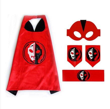 Japan cartoon Ultraman Costume Cosplay Cape mask wrist belt set dress up for kids