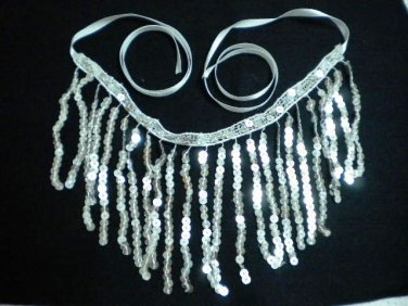 Handmade silver waterfall fringe sequin necklace Valentine gift