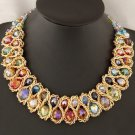 Women Fashion Charm Chunky Crystal Statement Bib Chain Crusader Necklace Jewelry