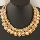 Women Fashion Charm Chunky Crystal Statement Bib Chain Crusader Cross Necklace Jewelry