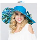 BLUE Woman Double side Wide Brim anti UV Outdoor protective sun hat