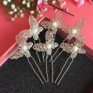 Fashion Wedding Bridal silver butterfly crystal hairpin 6pcs