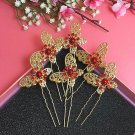 Fashion Wedding Bridal golden butterfly crystal hairpin 6pcs