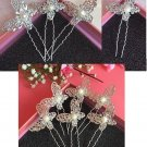 Fashion Wedding Bridal silver butterfly crystal hairpin 10pcs