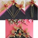 Fashion Wedding Bridal golden butterfly crystal hairpin 10pcs