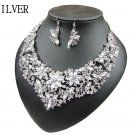 Wedding Chunky Crystal Statement Bib Bohemia Necklace+Earring Set