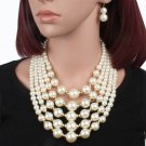 Wedding Chunky Pearl Necklace+Earring Set