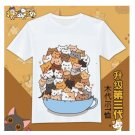 Japan anime cute cartoon Neko Atsume graphic T-Shirt