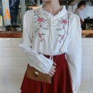 woman long sleeve embroidered floral blouse NEW