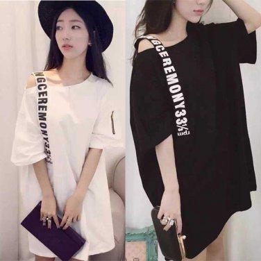 Woman printing open shoulder dress