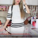 Woman summer sweater top + skirt dress set