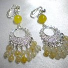 Honey jade filigree clip on earring