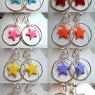 Circle hoop twinkle star dangle earring