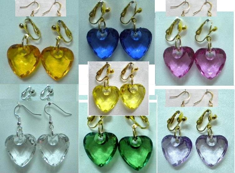 Red acrylic heart gold plated clip on earring