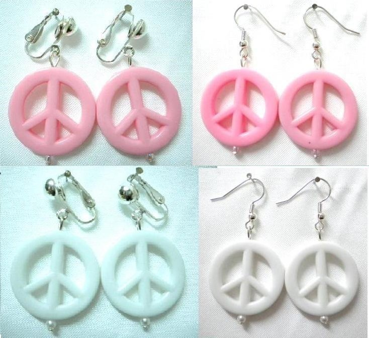 Rose pink Peace & Love earring