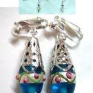 Woman Jewelry Floral lampwork  filigree clip on earring