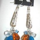 Glass beads dangle pierced earring