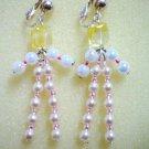 Cute beaded dangle clip on earring