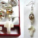 Handmade lampwork cross dangle earring