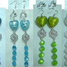 Long dangle lampwork heart earring