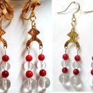 Handmade Charm coral quartz dangle earring earring 2-3/4""