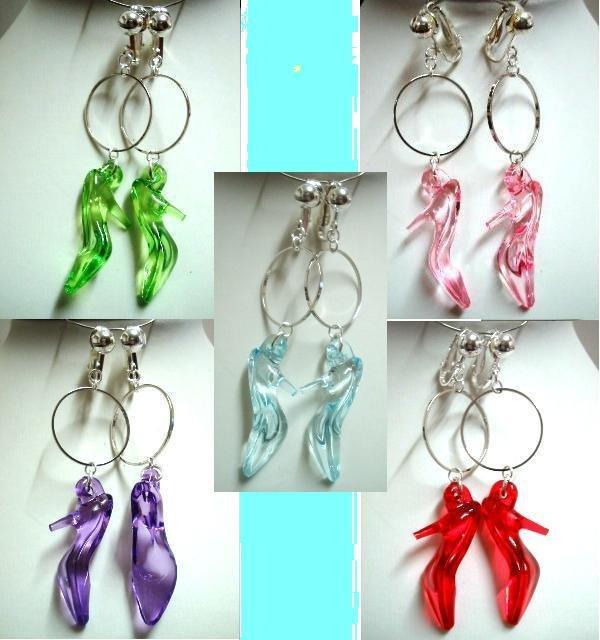 Handmade hoop high heel dangle clip on earring