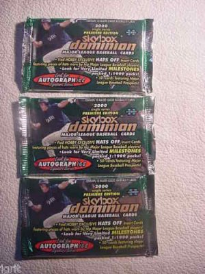 3 new 2000 SKYBOX DOMINION baseball HOBBY PACK - sealed