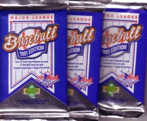 3 new 1991 UPPER DECK baseball FOIL PACK sealed