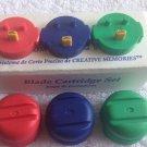 new SET 3 BLADES - BLUE RED GREEN round CREATIVE MEMORIES CUSTOM CUTTING SYSTEM
