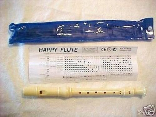 new - FLUTE RECORDER w/ fingering chart music instruction button dust bag - NEW
