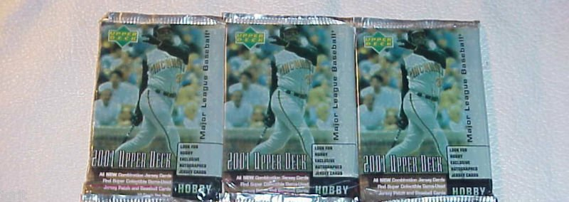 3 new 2001 UPPER DECK ud HOBBY MLB baseball PACK sealed series one ser.1 packs