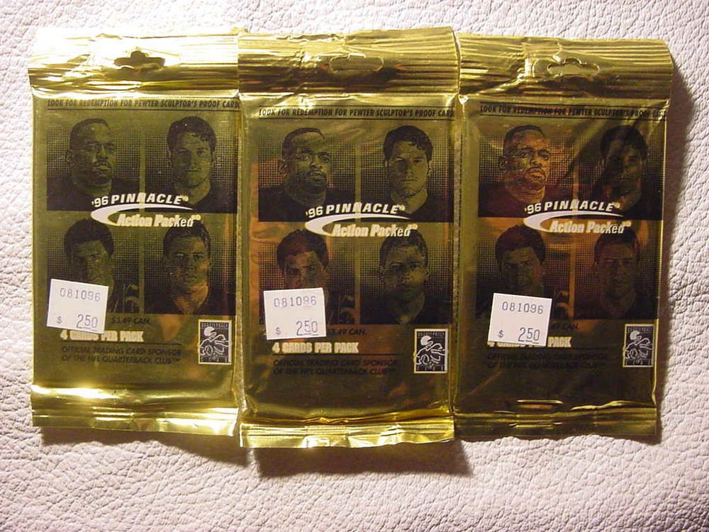 3 packs new 1996 PINNACLE Action Packed football HOBBY NFL pack