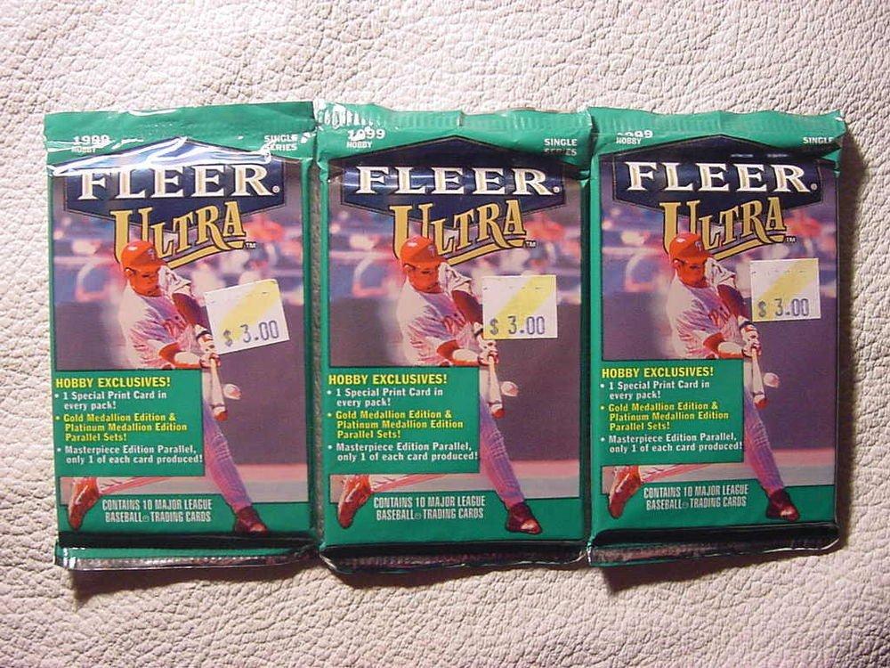 3 new 1999 Fleer ULTRA baseball HOBBY PACK - sealed