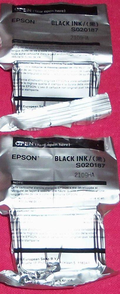 2 Epson S020093 black ink jet Cartridge 1200 750 700 670 660 640 stylus printer