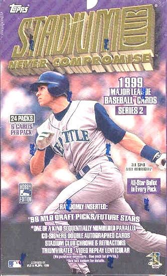 sealed HOBBY box 1999 STADIUM CLUB BASEBALL SERIES 2 two 24 packs MLB TOPPS
