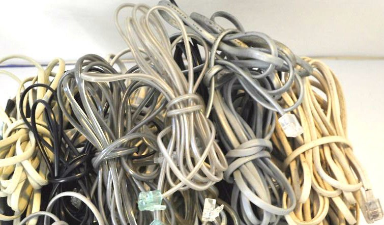 25 standard house hold tele phone cords (6ft+) cables bunch box full of wires