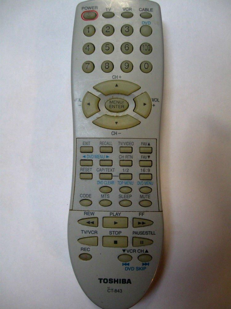 Toshiba Remote Control CT 843 - TV 14AF43 20AF43 24AF43 27A43 27AF43 27AF44 VCR