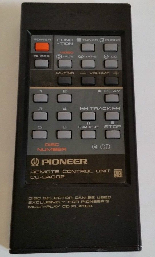 Pioneer Remote Control CU SA002 = cassette tape player CD phono tuner video AUX