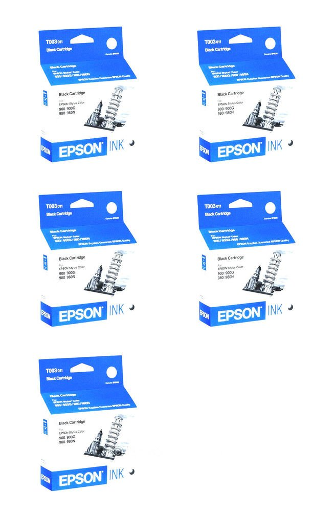 5 (five) Epson T003 Ink Cartridge T003011 for Stylus Color printer 900 980 980N
