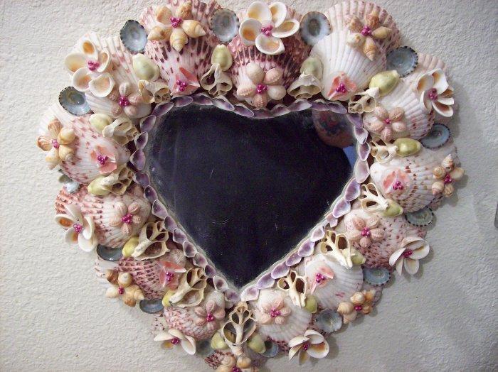 beautiful vintage seashell heart shaped mirror