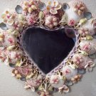 beautiful vintage seashell heart shaped mirror