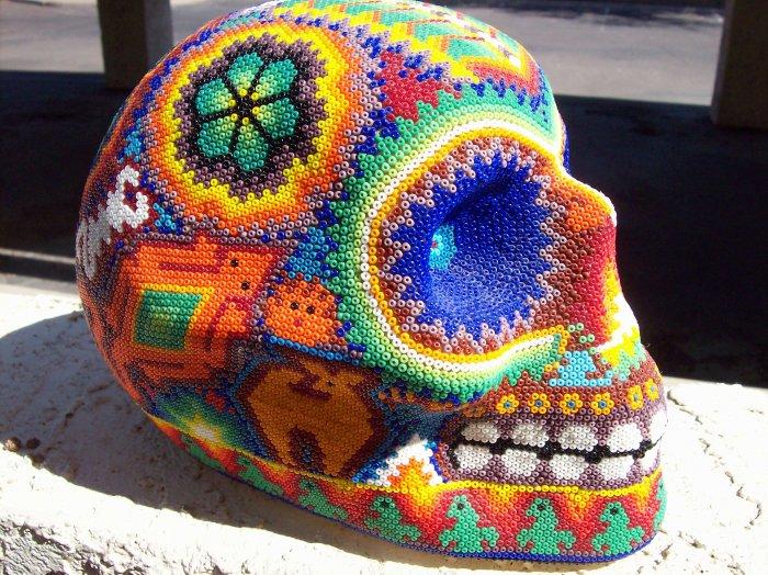 beaded beeswax and seed bead skull