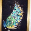 vintage black velvet peacock
