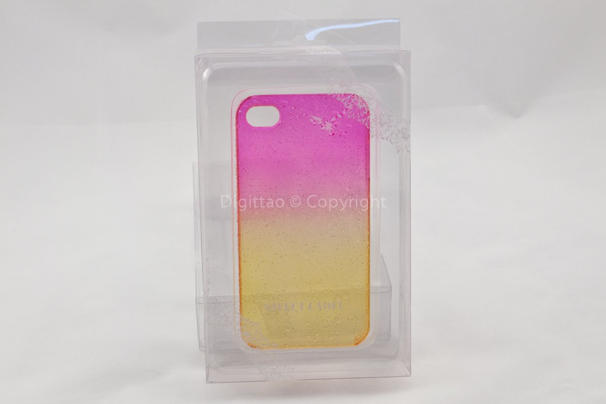 iPhone 4 case WaterDrops Sweet label (FUCHSIA & YELLOW))